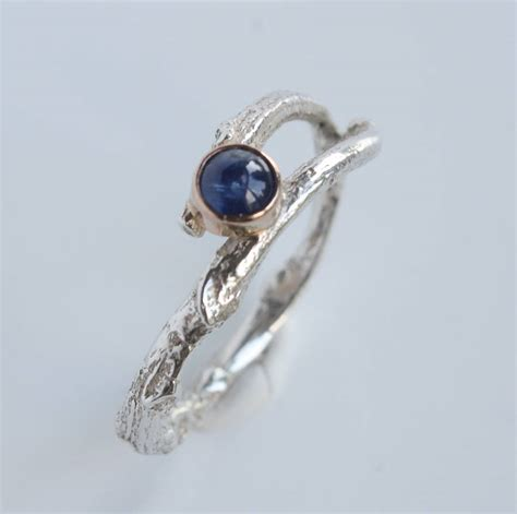 Handcrafted Engagement Ring - handmade silver gold woodland sapphire twig ring by