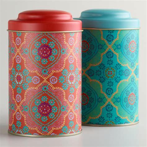Tea Tin mosaic tea tins set of 2 world market
