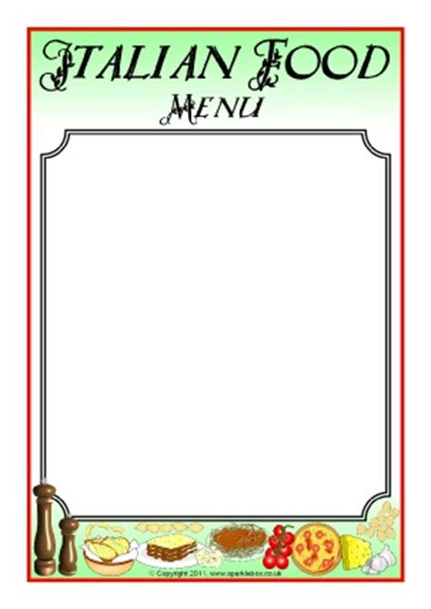 menu writing frames and printable page borders ks1 ks2