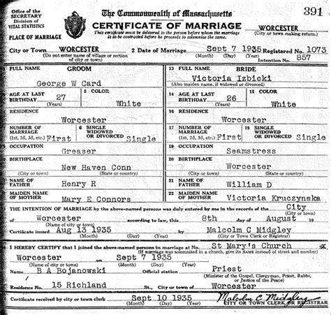 Connecticut Marriage License Records The Marriage Of George W Card And Izbicki