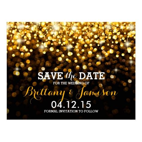 free save the date card templates gold theme gold black glitz glam save the date postcard