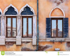Wooden Carved Sofa Old Arched Windows Of Venetian House Stock Photo Image