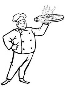 free online pizza baker colouring page