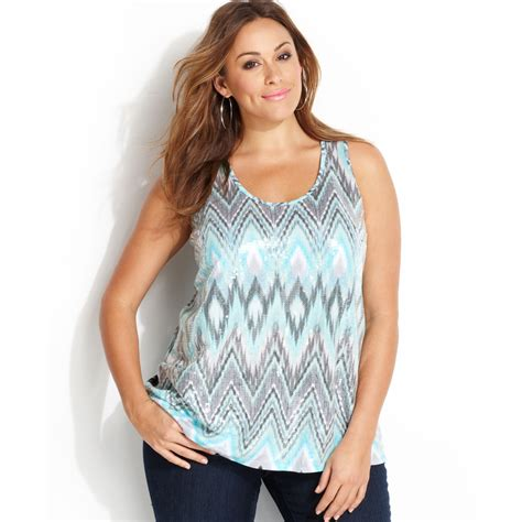 Tank Top All Size Coklat inc international concepts plus size printed sequined tank top in blue lyst
