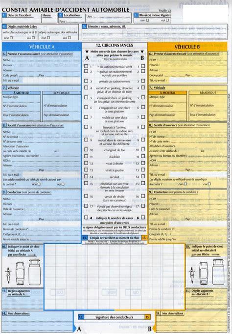 Modele Constat Amiable constat amiable d auto lelynx fr