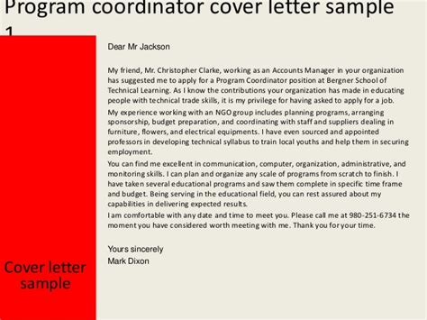 program coordinator cover letter coordinator letter of interest images