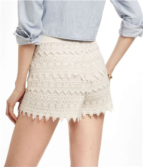 Crochet Shorts express 2 12 inch high rise tiered crochet shorts in white