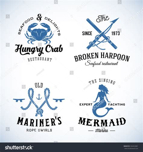 nautical themed names set of vintage nautical sea labels with retro typography