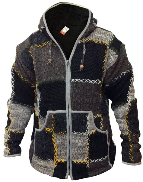 Patchwork Jacket Mens - mens wool patchwork fleece lined hippy jacket boho