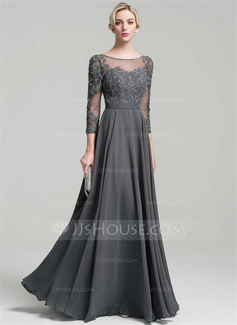 Evening Dresses by A Line Princess Scoop Neck Floor Length Chiffon Evening
