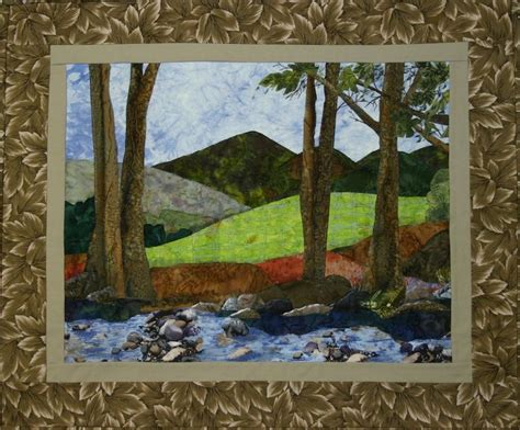 applique landscape quilt wallhanging bull mountain