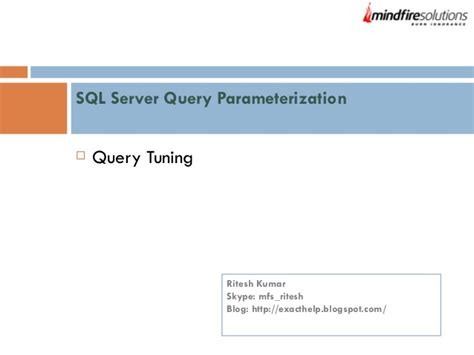 sql query tuning tutorial sql server query parameterization