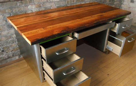 reclaimed wood desk top diy wooden global