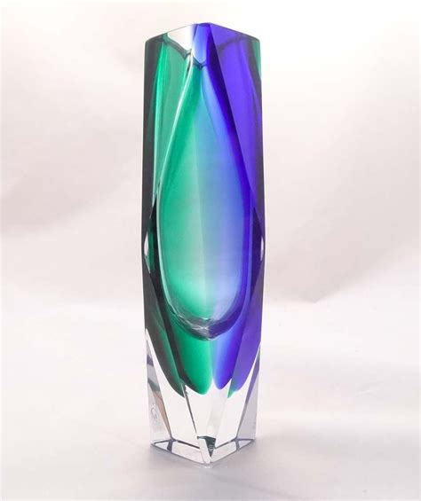 Blue Green Vase Blue And Green Edged Vase Murano Glass Murano Glass