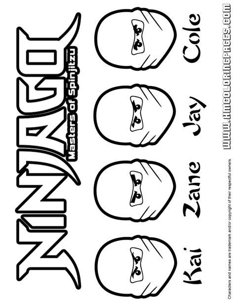 all ninjago coloring pages ninjago all ninjas kai zane jay and cole coloring