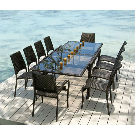 Patio Table Seats 10 Rattan Fiji Extending Table Stacking Chairs Outdoor Dining Set