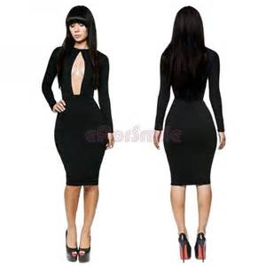 New sexy womens clubwear cut out open front bodycon dress party club