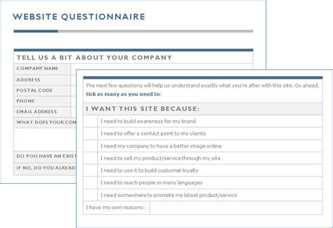 website design questionnaire form the expert game plan for selling web design to your clients