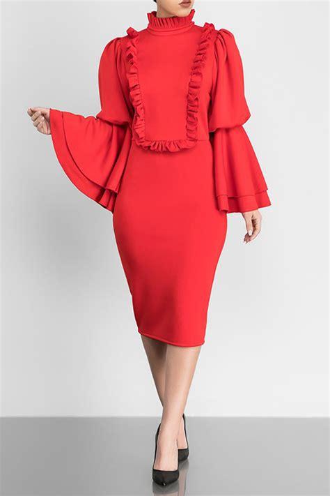 Mandarin Collar Sleeve Dress vintage mandarin collar trumpet sleeves ruffle design