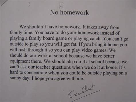 no homework essay summer vacation homework persuasive essay on no