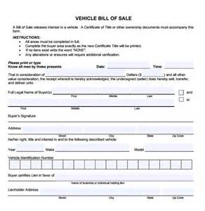 Template Bill Of Sale by Sle Car Bill Of Sale 5 Documents In Pdf Word