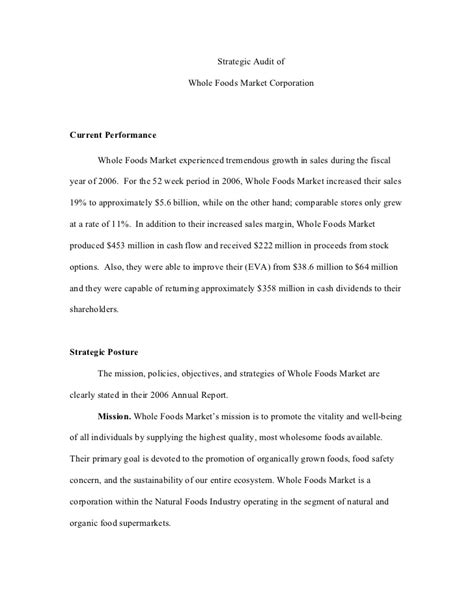 strategic analysis report template whole foods strategic audit