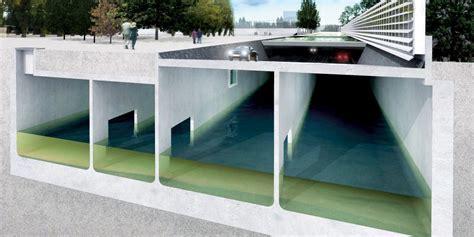 rainwater storage  buildings   parking garages urban green blue grids