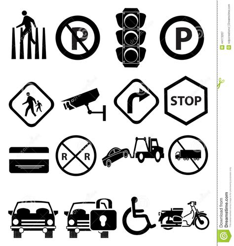 traffic signs icons set stock vector image 44173207
