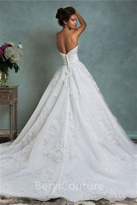 Royal Ball Gown Strapless Low Back Vintage Lace Wedding