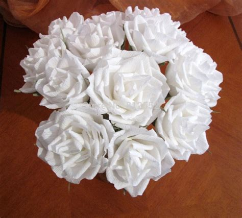 Wedding Bouquet Decorations by White Roses Crepe Paper Flower Wedding Bouquet Bridal