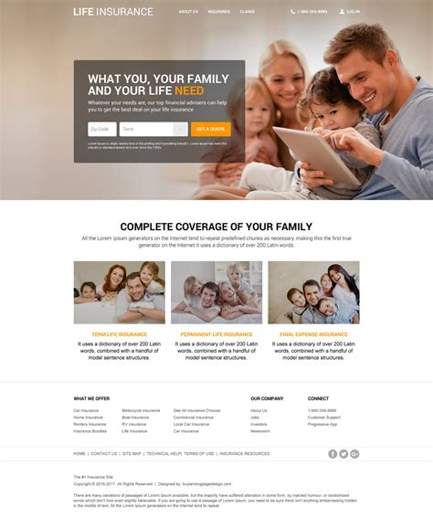 Responsive Life Insurance Website Design For Professional Company Insurance Website Templates