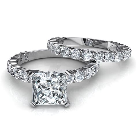 Wedding Set Band by Shared Prong Princess Cut Engagement Ring Wedding Band