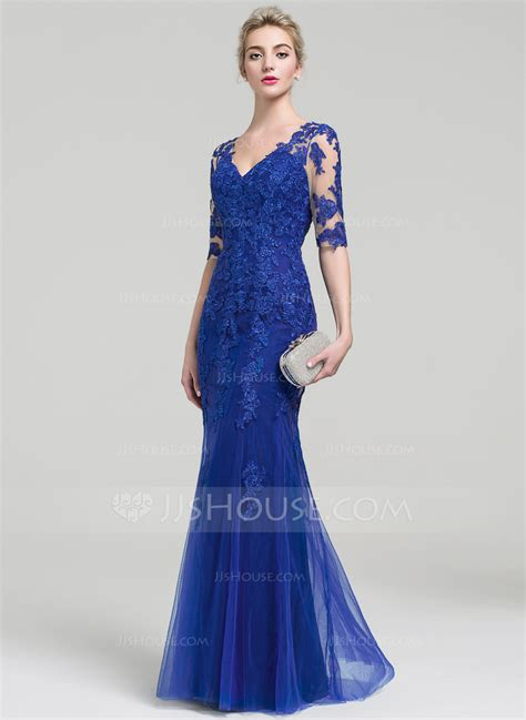jjs house trumpet mermaid v neck floor length tulle lace evening dress 017093459 evening
