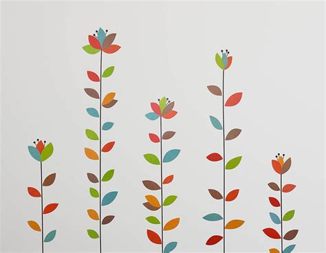 flowers wall stickers colourful flowers wall sticker set contemporary wall stickers