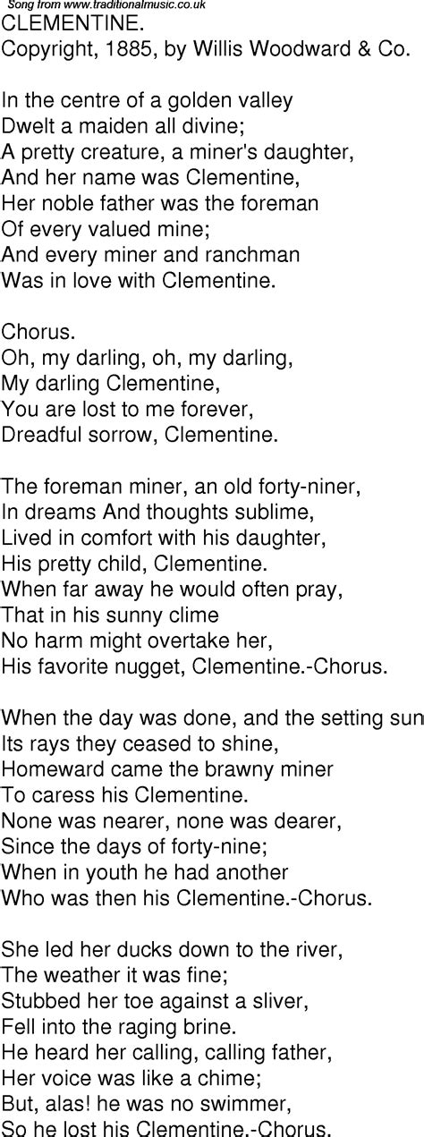 clementine lyrics time song lyrics for 10 clementine