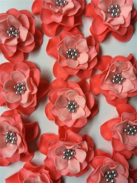 edible cupcake toppers for bridal shower 12 flower cake topper fondant flowers coral silver ombre