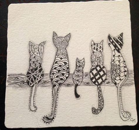 printable zentangle cards zentangle cats greeting card idea zentangles pinterest
