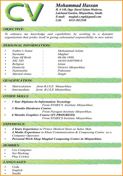 Curriculum Vitae Sample Format For Students by Undergraduate Student Curriculum Vitae Sample Letter