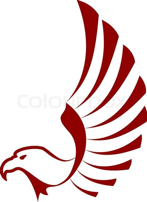 red eagle with wings for tattoo design stock vector