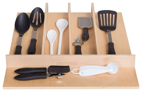 Kitchen Utensil Drawer Organizer by Century Components Wood Utensil Tray Drawer Organizer