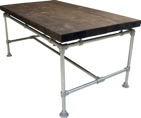 tafel van balken tafel nieuwe balken zwevend steigerbuis met blackwash