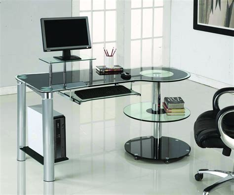 sleek computer desk sleek modern black glass chrome executive desk