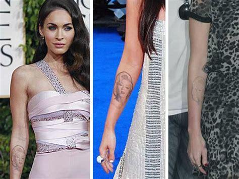 megan fox marilyn tattoo are just like us they regret their tattoos