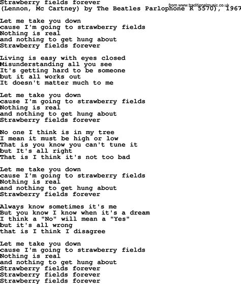 Strawberry Swing Chords by Bruce Springsteen Song Strawberry Fields Forever Lyrics