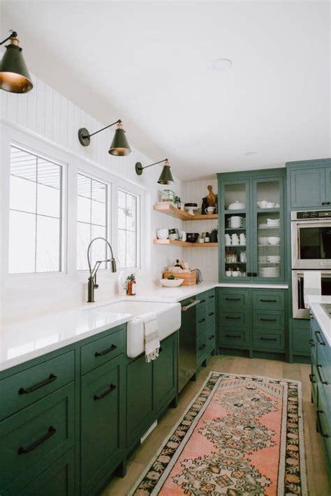 green kitchen cabinet inspiration kitchen  dining