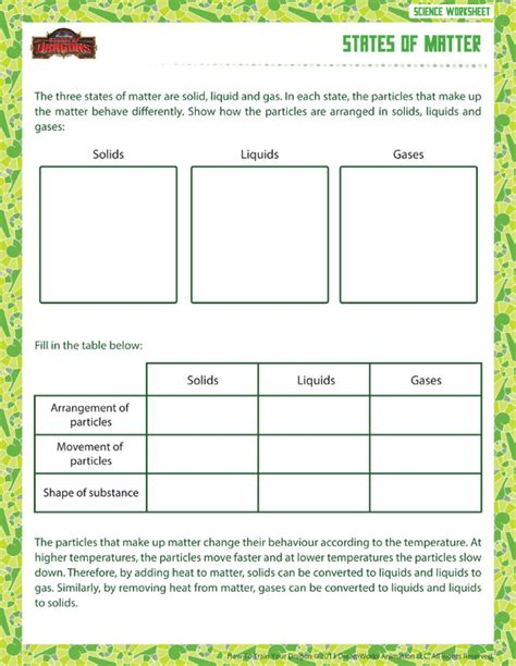 States Of Matter Worksheet Pdf by States Of Matter View Printable Sixth Grade Physical