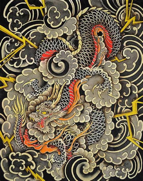 oriental tattoo prints dragons storm by clark north japanese asian tattoo canvas