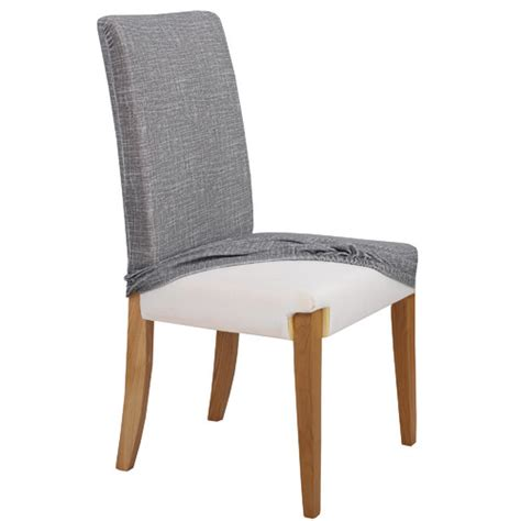 grey faux linen stretch dining room chair cover temple