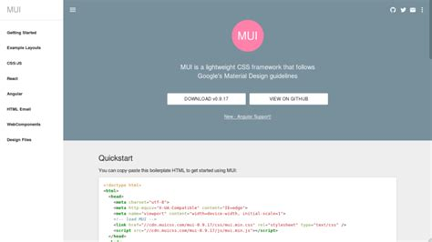 html responsive design framework 6 free material design css frameworks for 2017 compared
