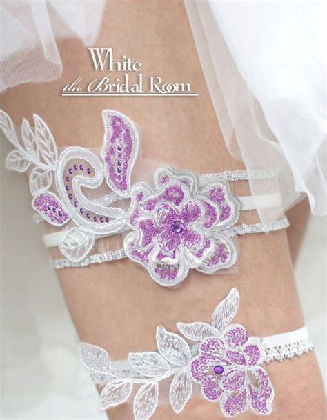 bridal garter belt sets purple and white bridal garter set wedding garter